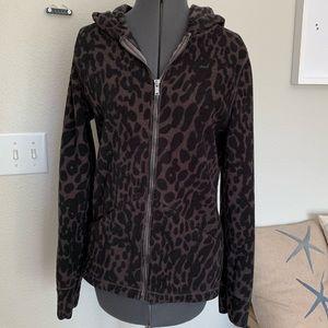 Calvin Klein Leopard Print fleece zip up hoodie